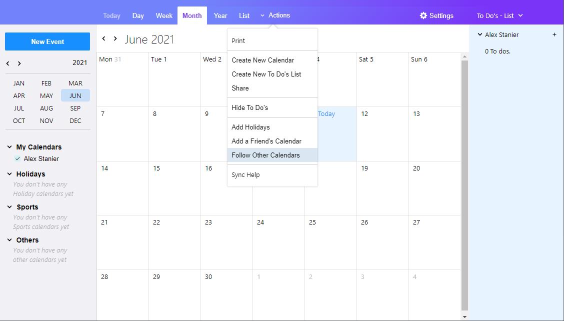 Yahoo Calendar showing dropdown menu