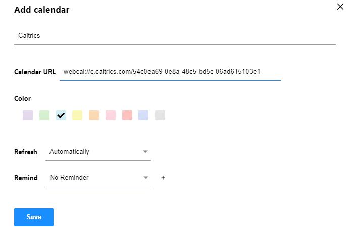 Yahoo Calendar inserting external ICS Calendar